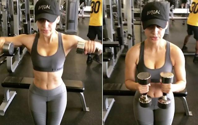 "The 29-year-old shared an Instagram video of herself at the gym, along with the caption, ""Happy to be back."" (Photo: Instagram)"