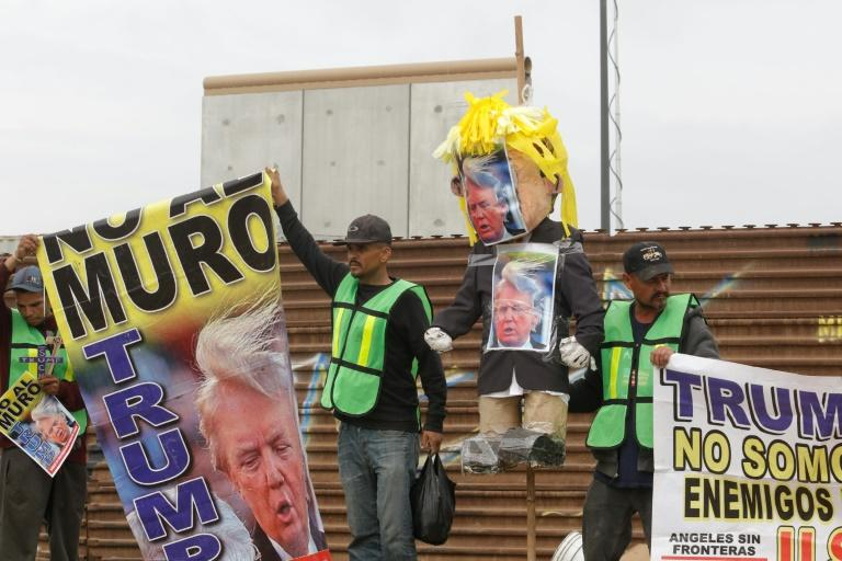 Demonstrators in Tijuana paraded with a pinata version of Trump -- which police persuaded them not to burn