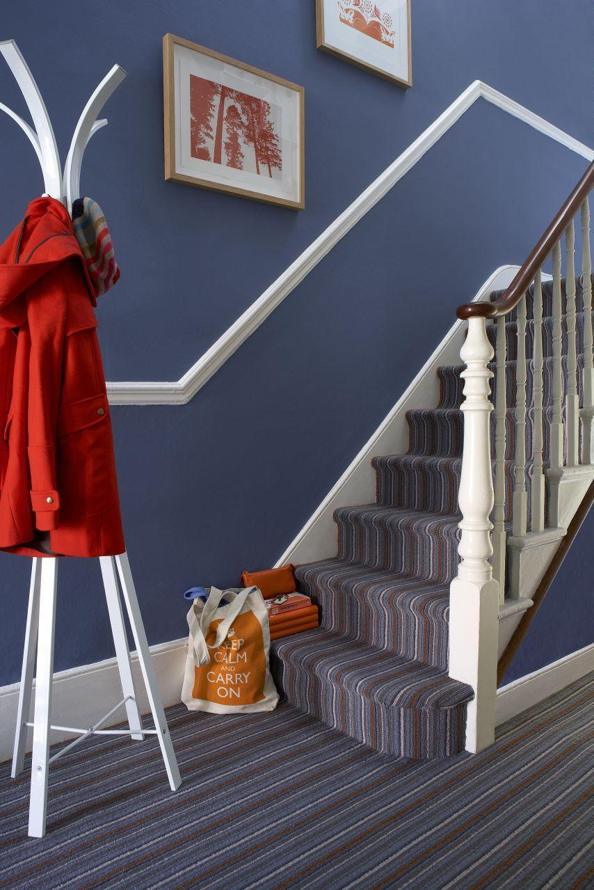 """<p>Lively blue is a calming shade perfect for high-traffic zones (it masks stains better). If you have a small hallway that you're struggling with, try matching stair carpet to your walls. Picking out just one shade will tie the whole space together perfectly. </p><p><strong>READ MORE</strong>: <a href=""""https://www.housebeautiful.com/uk/decorate/hallway/g36617179/instagrammable-hallway-ideas/"""" rel=""""nofollow noopener"""" target=""""_blank"""" data-ylk=""""slk:8 ways to make your hallway the ultimate Insta-ready space"""" class=""""link rapid-noclick-resp"""">8 ways to make your hallway the ultimate Insta-ready space</a></p>"""