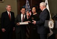 <p>Her extended family of 25 (including her husband and father) were there for the ceremony overseen by Vice President Mike Pence in the Eisenhower Executive Office Building.</p>