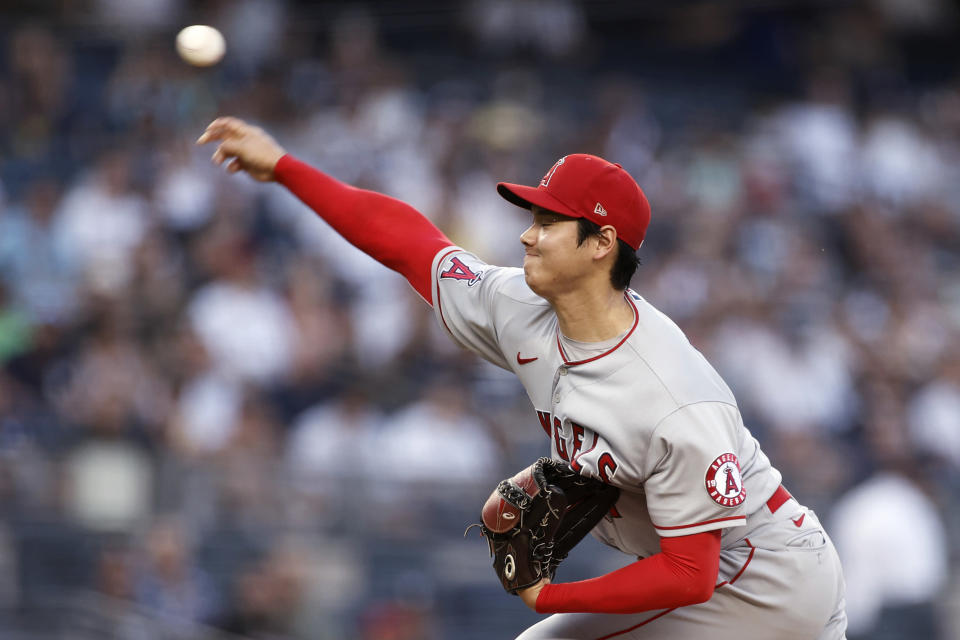 Los Angeles Angels pitcher Shohei Ohtani throws during the first inning of the team's baseball game against the New York Yankees on Wednesday, June 30, 2021, in New York. (AP Photo/Adam Hunger)