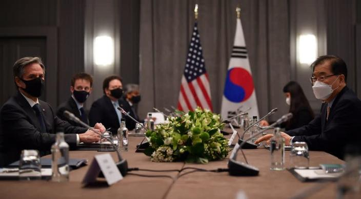U.S. Secretary of State Antony Blinken speaks with South Korea's Foreign Minister Chung Eui-yong, in London