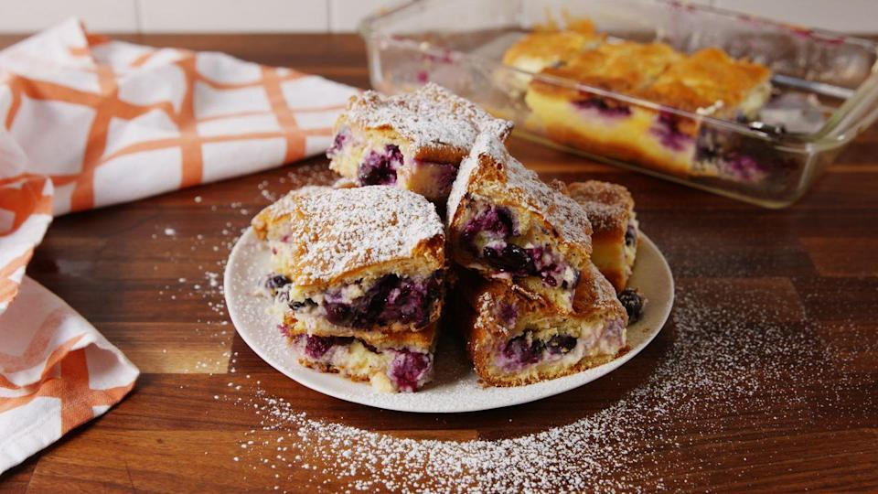 """<p>These cheesecake bars are begging for spring.</p><p>Get the recipe from <a href=""""https://www.delish.com/cooking/recipe-ideas/recipes/a58422/lemon-blueberry-cheesecake-bars-recipe/"""" rel=""""nofollow noopener"""" target=""""_blank"""" data-ylk=""""slk:Delish"""" class=""""link rapid-noclick-resp"""">Delish</a>. </p>"""