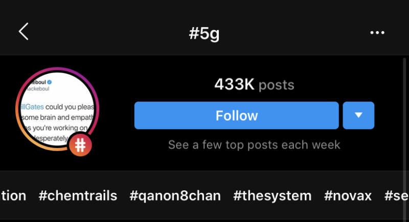 "Instagram suggests hashtags associated with conspiracy theories when you search for ""5G."""