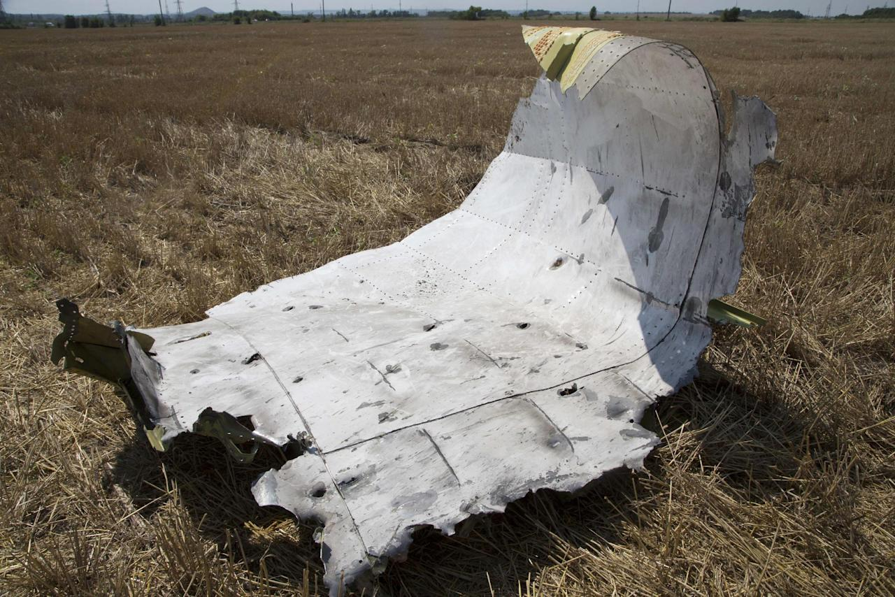 A piece of wreckage from the Malaysia Airlines jet downed over Ukraine. The piece is seen near Petropavlivka village, Donetsk region, eastern Ukraine Wednesday, July 23, 2014. The crash site, in territory held by the pro-Russian separatists accused by the Ukrainian government of shooting the plane down with a missile, remained unsecured five days after the disaster _ another source of frustration among foreign governments concerned about establishing the facts. (AP Photo/Dmitry Lovetsky)