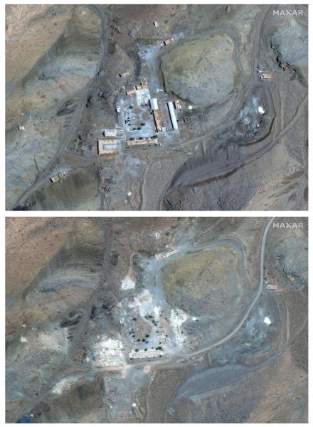 In a combination of satellite photos provided by Maxar Tec, a March 27, 2019 satellite image, top, of the site provided by  Maxar Technologies show a compound with a series of buildings  surrounding a courtyard, with other smaller structures away from it. An  Aug. 12, 2019 satellite image, bottom, unveiled Monday, September 9, 2019 by Israel Prime Minister Benjamin Netanyahu shows what he said was a previously undisclosed Iranian nuclear weapons site.  (Maxar Tec via AP)