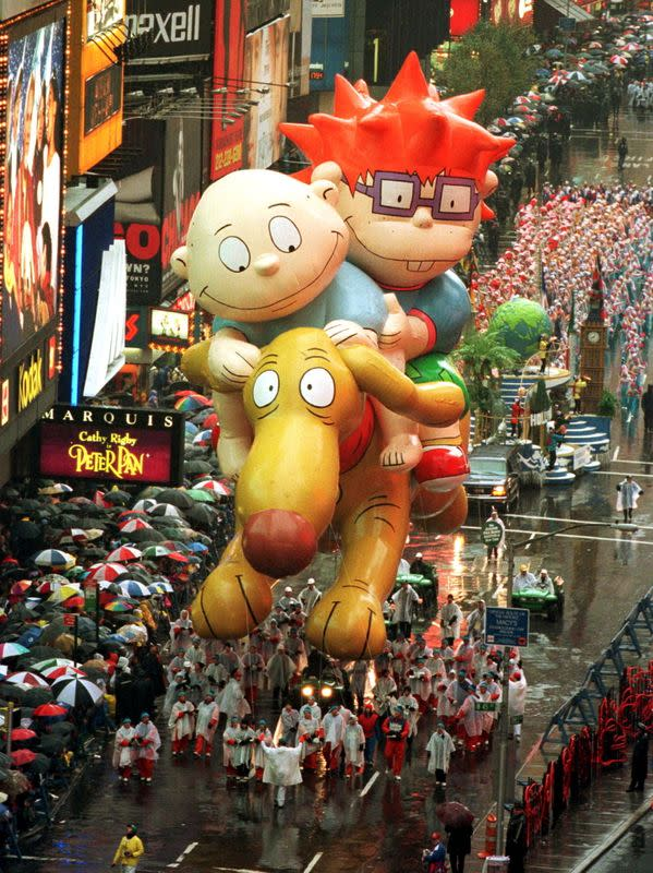 """FILE PHOTO: The """"Rugrats"""" float makes its way through New Yorks Times Square during the 72nd annual Macy's Thank.."""