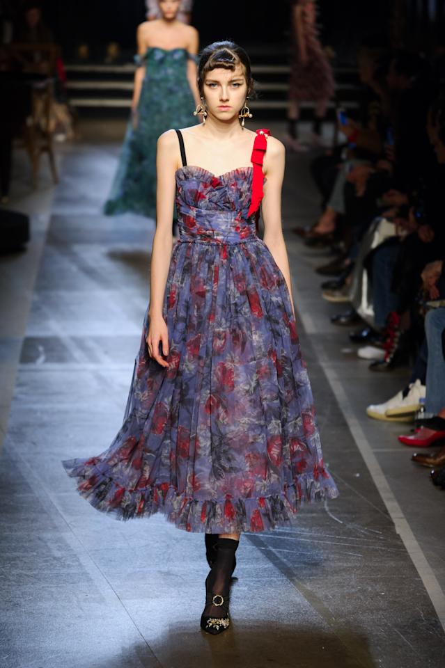 <p><i>A dark purple and red floral printed dress from the SS18 Erdem collection. (Photo: IMAXtree) </i></p>