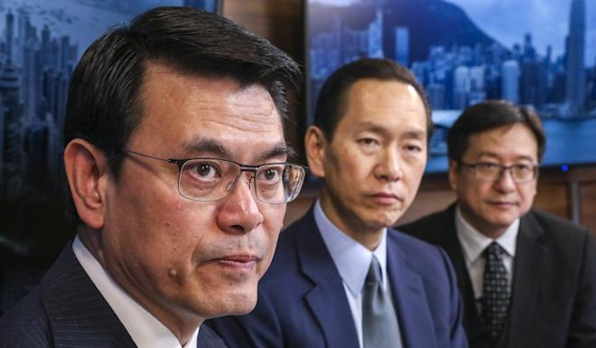 Secretary for Commerce and Economic Development Edward Yau (left), Executive Council convenor Bernard Chan and Law Society vice-president Chan Chak-ming at the SCMP offices in Causeway Bay. Photo: Nora Tam