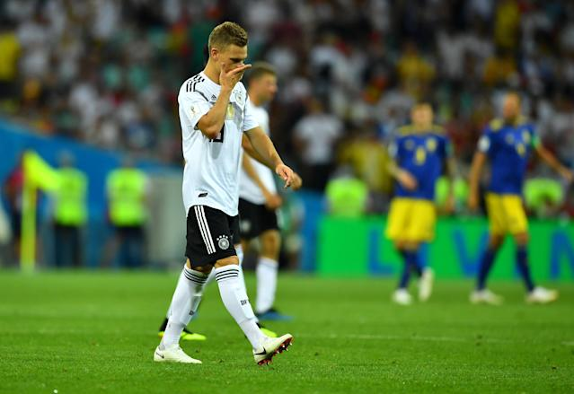 Soccer Football - World Cup - Group F - Germany vs Sweden - Fisht Stadium, Sochi, Russia - June 23, 2018 Germany's Joshua Kimmich looks dejected before the start of the second half REUTERS/Dylan Martinez
