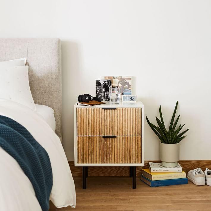<p>This <span>West Elm Quinn Nightstand</span> ($399) mixes modern materials for an elegant and durable finish.</p>