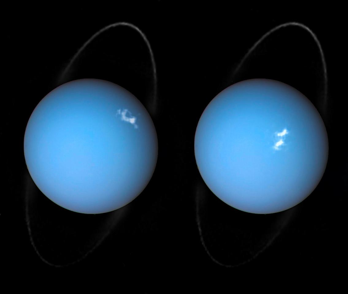 <p>NASA released two new photos of Uranus's auroras taken by the Hubble Space Telescope and the Voyager 2 space probe. Photo from NASA. </p>