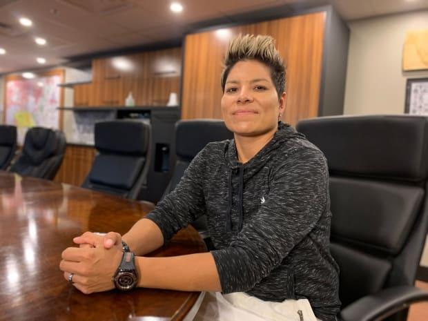 Kahsennenhawe Sky-Deer, who served as a chief on the Mohawk Council of Kahnawake for 12 years, was elected grand chief Saturday, becoming the first woman to hold the title.  (Jessica Deer/CBC - image credit)