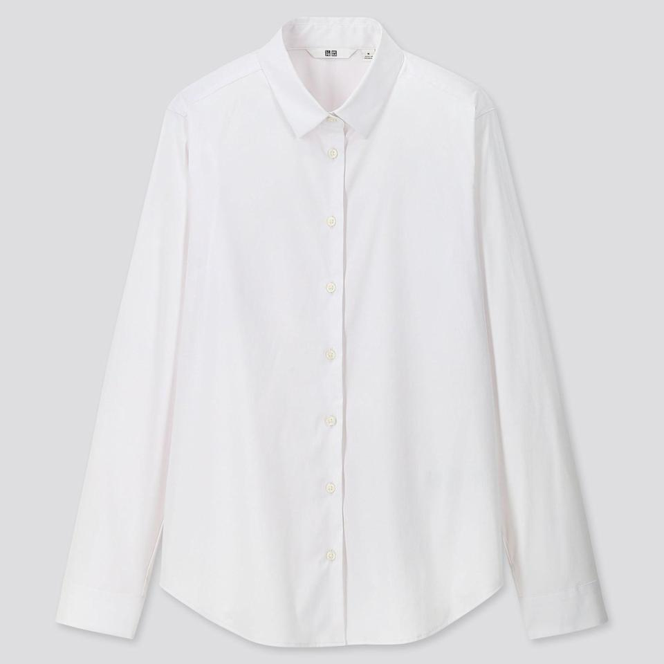 """<br><br><strong>Uniqlo</strong> Supima Cotton Stretch Long-Sleeve Shirt, $, available at <a href=""""https://go.skimresources.com/?id=30283X879131&url=https%3A%2F%2Fwww.uniqlo.com%2Fus%2Fen%2Fwomen-supima-cotton-stretch-long-sleeve-shirt-424649COL00SMA003000.html"""" rel=""""nofollow noopener"""" target=""""_blank"""" data-ylk=""""slk:Uniqlo"""" class=""""link rapid-noclick-resp"""">Uniqlo</a>"""