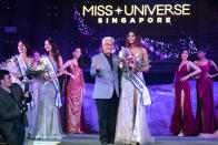 Laranya Kumar, First Runner Up winner in the finals of the 2019 Miss Universe Singapore beauty pageant at Zouk.