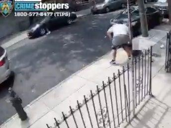 Police release security video footage from 12 July looking for a robber for attempting failed robbery attempts with falling pants (Screengrab/Video)