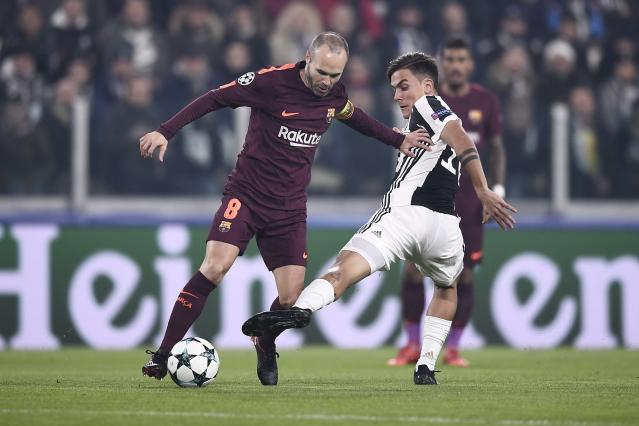 "<a class=""link rapid-noclick-resp"" href=""/soccer/teams/barcelona/"" data-ylk=""slk:Barcelona"">Barcelona</a>'s Andres Iniesta and <a class=""link rapid-noclick-resp"" href=""/soccer/teams/juventus/"" data-ylk=""slk:Juventus"">Juventus</a>' Paulo Dybala battled in midfield while Leo Messi rested on the Barca bench. (Getty)"