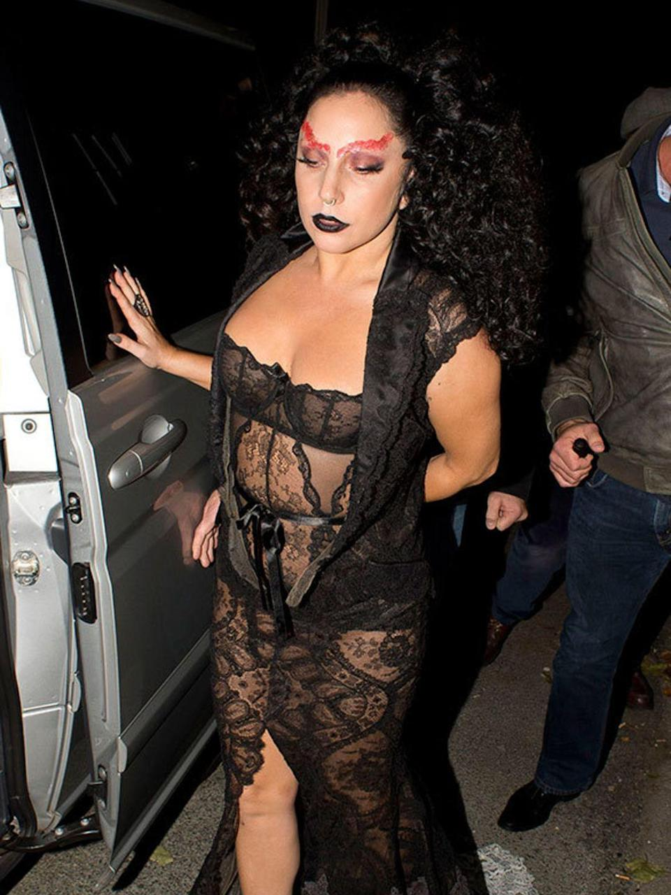 <p>Lady Gaga leaves the Langham Hotel, London, with red eyebrows. October 2014</p>
