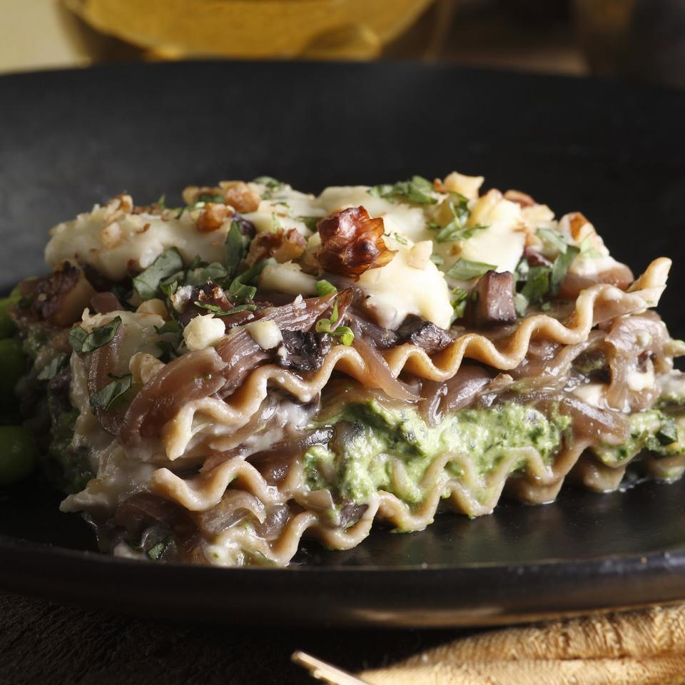 """<p>This unusual lasagna with portobello mushrooms, sweet onions, spinach and Gorgonzola cheese has a rich, complex flavor. It's also great with goat cheese instead of Gorgonzola, if you prefer. <a href=""""https://www.eatingwell.com/recipe/249703/caramelized-onion-lasagna/"""" rel=""""nofollow noopener"""" target=""""_blank"""" data-ylk=""""slk:View Recipe"""" class=""""link rapid-noclick-resp"""">View Recipe</a></p>"""
