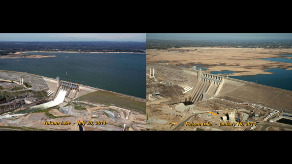 The severity of California's drought is visible at Folsom Lake, near Sacramento. On July 20, 2011, the lake was at 97 percent of capacity; on Jan. 16, 2014, it was at 17 percent.
