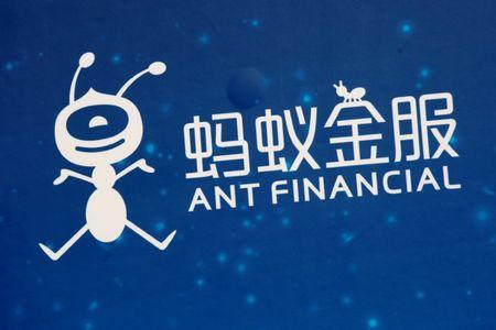 FILE PHOTO - A logo of Ant Financial is displayed at the Ant Financial event in Hong Kong