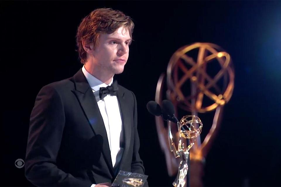 """<p><a href=""""https://people.com/tv/2021-emmy-awards-evan-peters-supporting-actor-limited-series-win/"""" rel=""""nofollow noopener"""" target=""""_blank"""" data-ylk=""""slk:took home his first Emmy for outstanding supporting actor in a limited anthology series or movie"""" class=""""link rapid-noclick-resp"""">took home his first Emmy for outstanding supporting actor in a limited anthology series or movie</a> for playing Detective Colin Zabel in <em>Mare of Easttown. </em>In his acceptance speech, the actor made sure to shout out his costar, Kate Winslet, """"For being Kate Winslet!"""" </p>"""