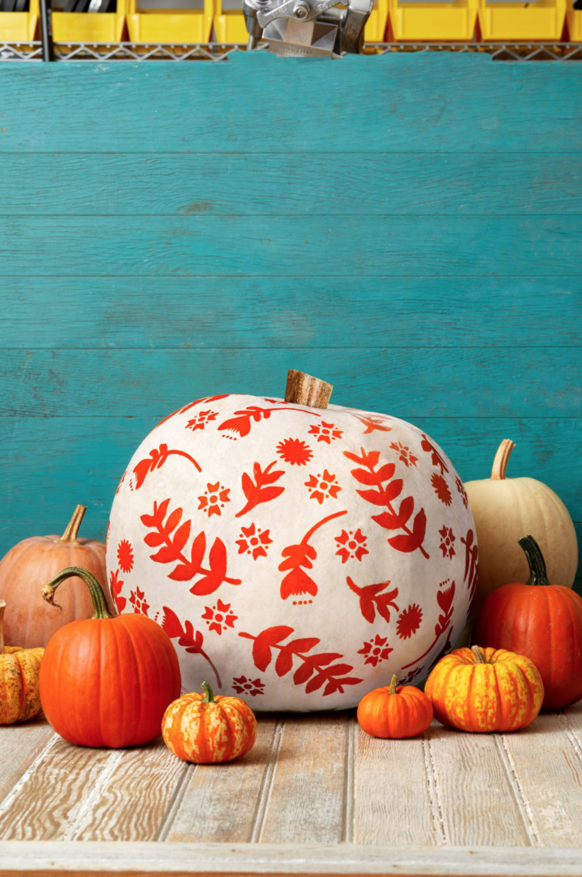 """<p>With just a few simple supplies (stencils, a foam pouncer, and some craft paint, for starters), you'll be on your way to decorating your home with these blossoming beauties.<strong><br></strong></p><p><strong>Make the pumpkins:</strong><br></p><p>Cut out and tape a large leaf or flower stencil to a white pumpkin (painter's tape suggested).</p><p>Using a foam pouncer, lightly dab craft paint onto the pumpkin to fill in the stencil. </p><p>Let dry, then remove the stencil and repeat in several other spots.</p><p>Repeat steps 1 and 2 with other stencils, working from bigger stencils to smaller ones. </p><p><a class=""""link rapid-noclick-resp"""" href=""""https://go.redirectingat.com?id=74968X1596630&url=https%3A%2F%2Fwww.walmart.com%2Fip%2FFolkArt-5070E-Acrylic-Craft-Paint-Set-Matte-Finish-Festival-Set-of-12-24-fl-oz%2F52620447&sref=https%3A%2F%2Fwww.thepioneerwoman.com%2Fholidays-celebrations%2Fg32894423%2Foutdoor-halloween-decorations%2F"""" rel=""""nofollow noopener"""" target=""""_blank"""" data-ylk=""""slk:SHOP CRAFT PAINT"""">SHOP CRAFT PAINT </a></p>"""