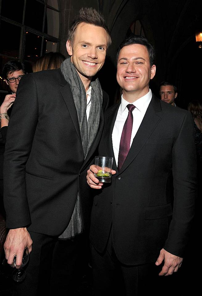 "Though Joel McHale recently received some bad news when his NBC sitcom ""Community"" got canceled this week, but he was all smiles as he posed with late-night host Jimmy Kimmel. (11/17/2011)"