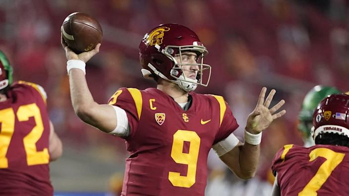USC quarterback Kedon Slovis throws a pass against Oregon during the Pac-12 title game in December.