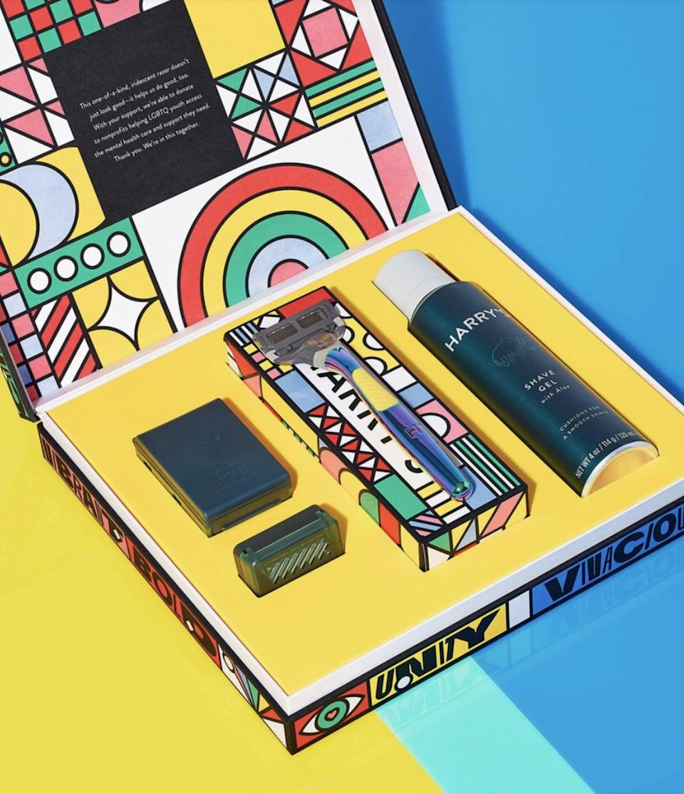 """<p>100 percent of the proceeds from Harry's <span>Shave with Pride Set</span> ($25) will benefit <a href=""""https://www.thetrevorproject.org"""" class=""""link rapid-noclick-resp"""" rel=""""nofollow noopener"""" target=""""_blank"""" data-ylk=""""slk:The Trevor Project."""">The Trevor Project.</a></p>"""
