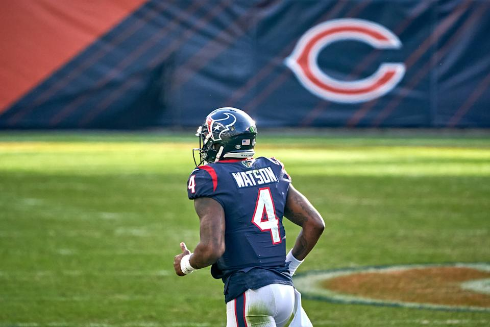 CHICAGO, IL - DECEMBER 13: Houston Texans quarterback Deshaun Watson (4) jogs back to the sidelines in action during a game between the Chicago Bears and the Houston Texans on December 13, 2020, at Soldier Field in Chicago, IL. (Photo by Robin Alam/Icon Sportswire via Getty Images)