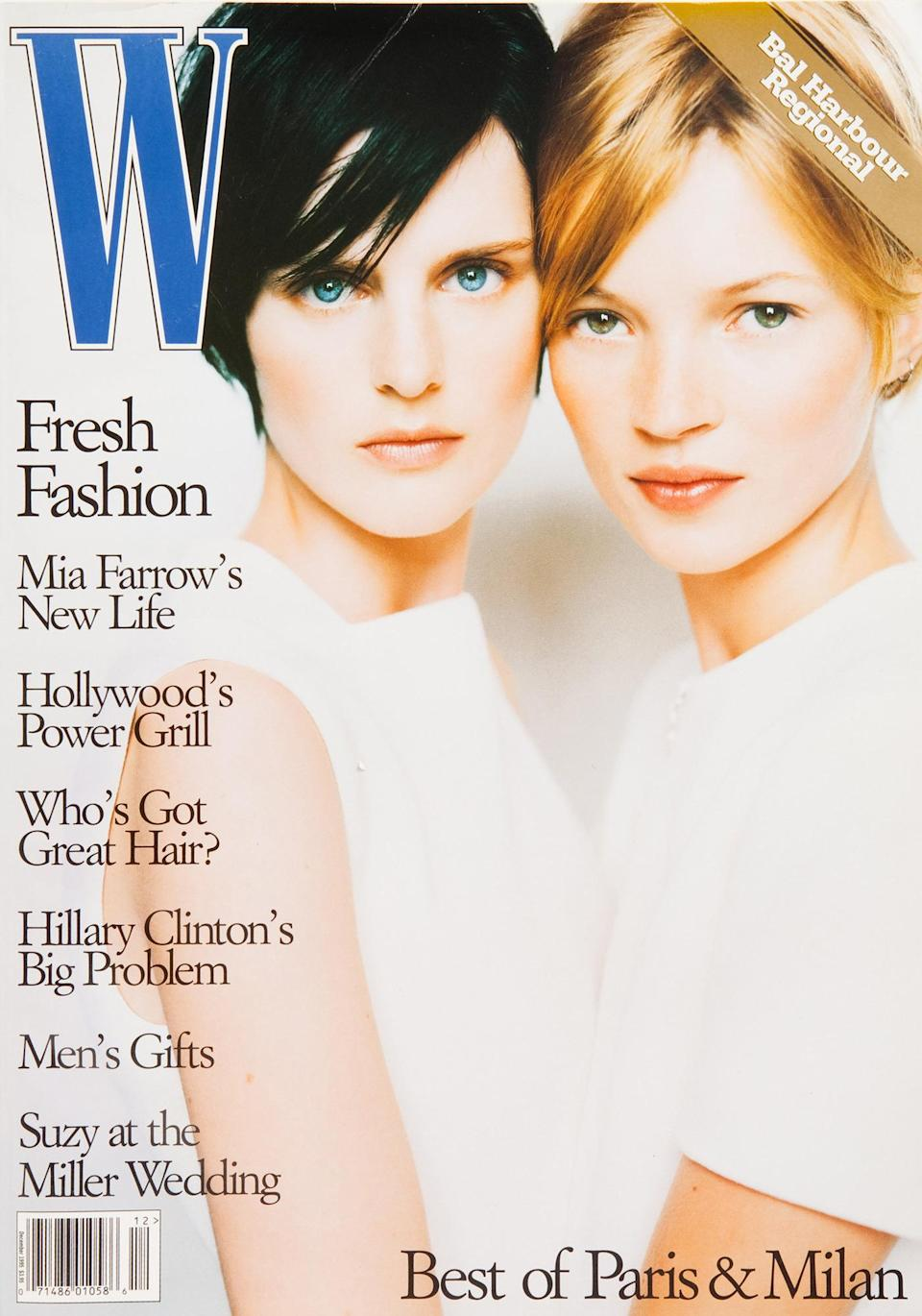 <p>The star's first <em>W</em> Magazine cover in 1995 made for one memorable moment: she graced the glossy with Kate Moss by her side.</p>