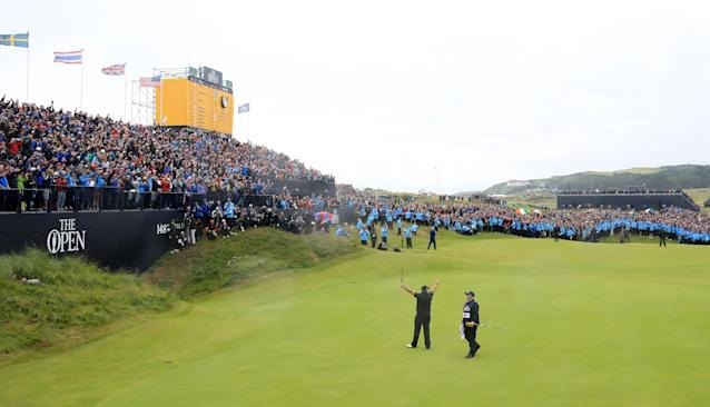 "<div class=""caption""> Shane Lowry celebrates on the 18th green during the final round of the 148th Open Championship. </div> <cite class=""credit"">Kevin C. Cox/Getty Images</cite>"