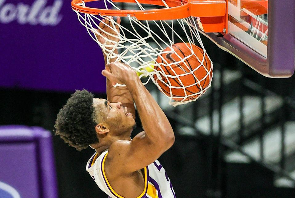 Dec 29, 2020; Baton Rouge, Louisiana, USA;  LSU Tigers guard Cameron Thomas (24) dunks the ball against the Texas A&M Aggies on a steal during the second half at Pete Maravich Assembly Center. Mandatory Credit: Stephen Lew-USA TODAY Sports ORG XMIT: IMAGN-439333 ORIG FILE ID:  202012.29_jrs_la1_160.JPG