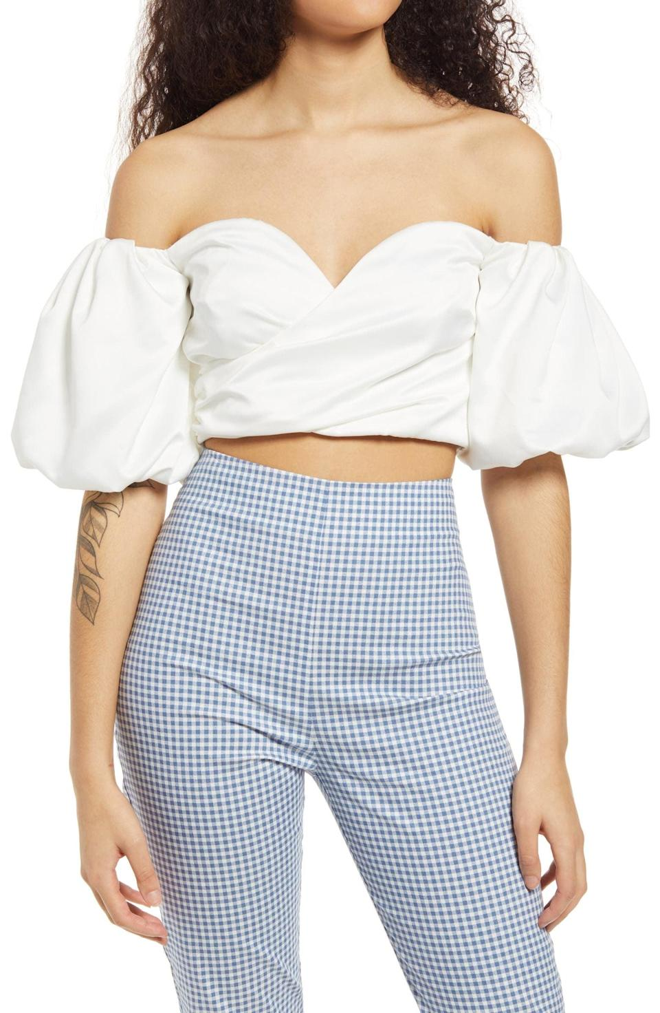 <p>Style this <span>Lulus Hot in Here Off the Shoulder Crop Top</span> ($42) with your go-to gingham trousers for a fresh, electric look.</p>