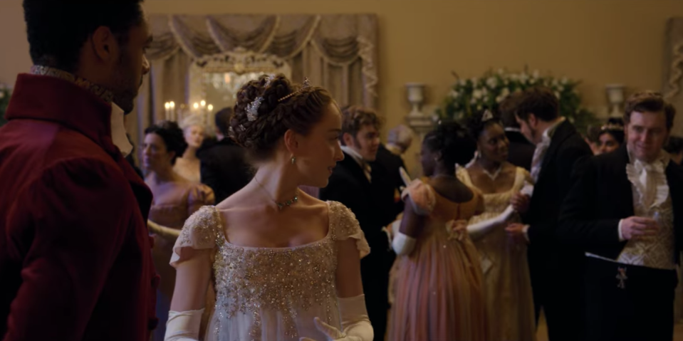 """<p>Even with tons of drama, intrigue, and vibrant luxury settings, romance series aren't often adapted for TV. """"People weren't looking to romance novels for source material,"""" Quinn told <a href=""""https://www.townandcountrymag.com/leisure/arts-and-culture/a34760004/julia-quinn-bridgerton-lady-whistledown-reveal-reaction/"""" rel=""""nofollow noopener"""" target=""""_blank"""" data-ylk=""""slk:Town and Country"""" class=""""link rapid-noclick-resp""""><em>Town and Country</em></a>. """"At its core romance is, and long has been, a genre that is almost exclusively written by women, read by women, edited by women, and it's become something that society can look down upon.""""</p>"""