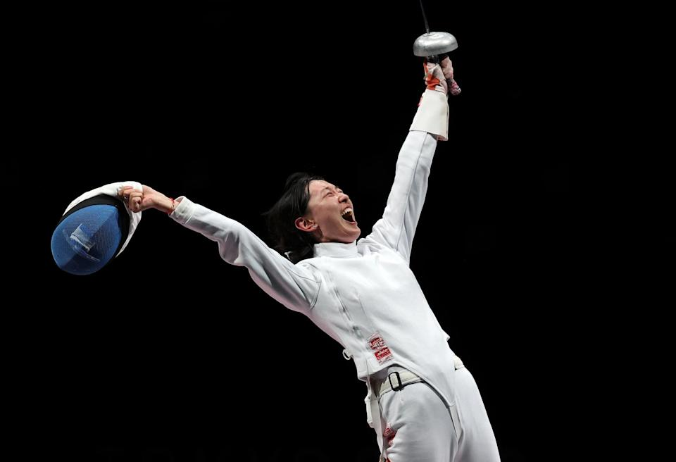 <p>Team China's Yiwen Sun explodes with emotion after defeating Team Romania's Maria Popescu in the women's épée fencing competition at Makuhari Messe Hall on July 24. </p>