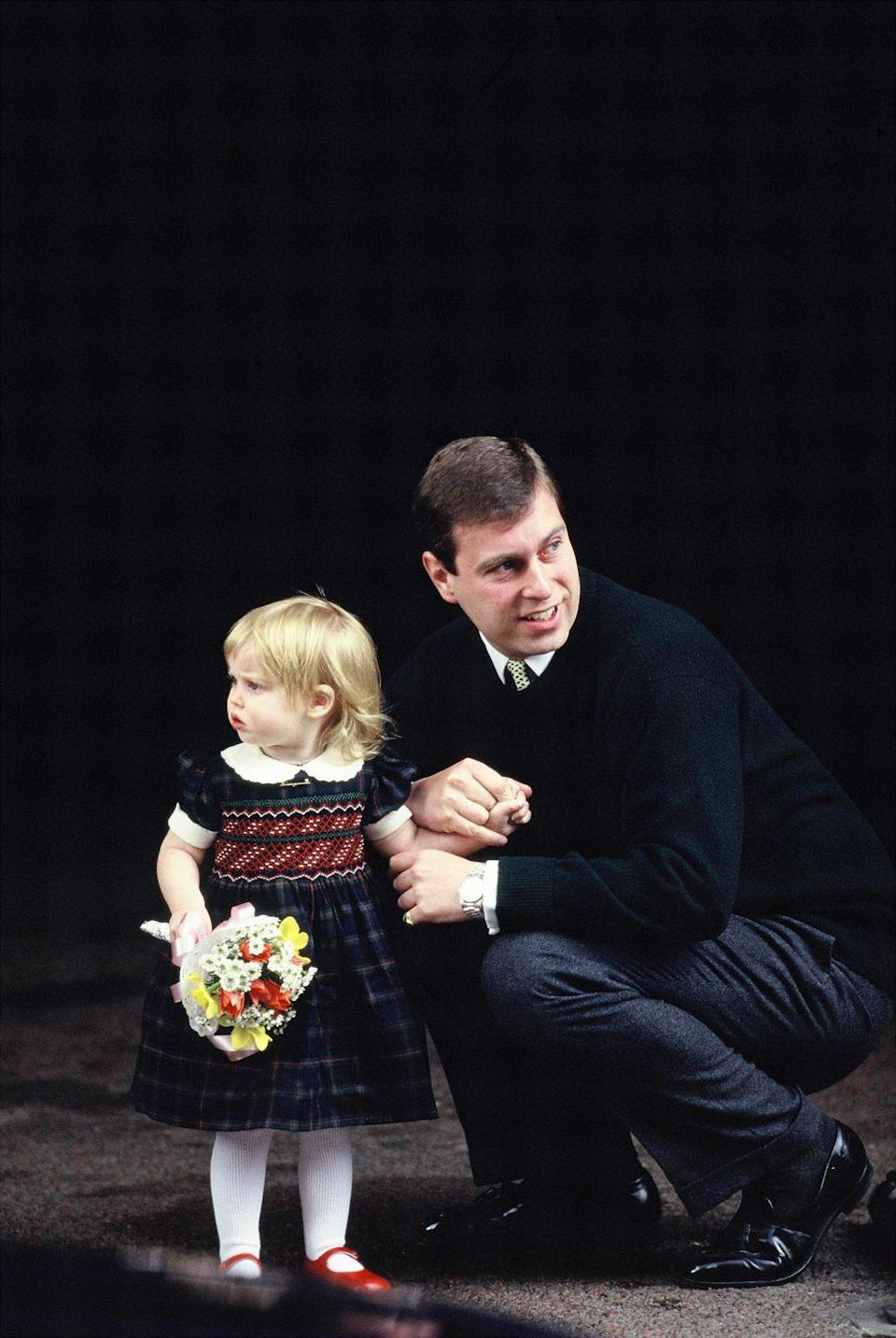 <p>Beatrice as a toddler (with her father) on the way to meet her new baby sister. </p>