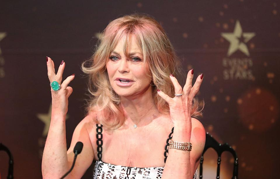 MELBOURNE, AUSTRALIA - NOVEMBER 14:  Goldie Hawn speaks during a press conference to launch her MindUP program on November 14, 2016 in Melbourne, Australia.  (Photo by Scott Barbour/Getty Images)