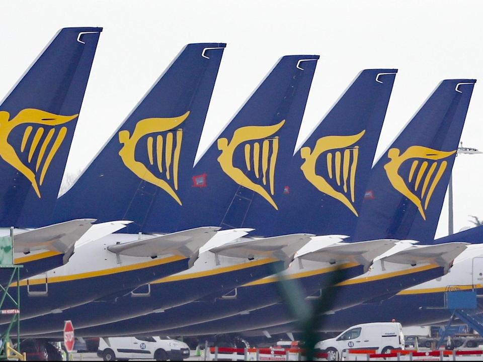 Much of Ryanair's fleet has remained grounded over the past year due to the pandemic (PA)