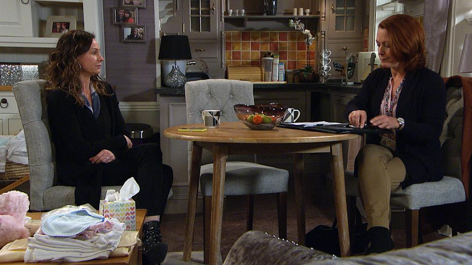 At the Woolpack, Chas Dingle [LUCY PARGETTER] despairs when Social Services turn up and she has to cover for PaddyÕs whereabouts. When he fails to turn up, Chas fumes  (ITV Plc)