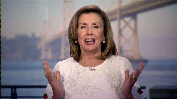 PHOTO: Speaker of the House Nancy Pelosi speaks by video feed during the virtual 2020 Democratic National Convention, Aug. 19 2020. (Democratic National Convention,)