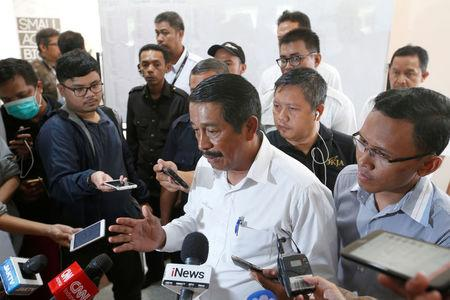 CEO of Lion Air Group, Edward Sirait, talks to the media after a news conference near Jakarta