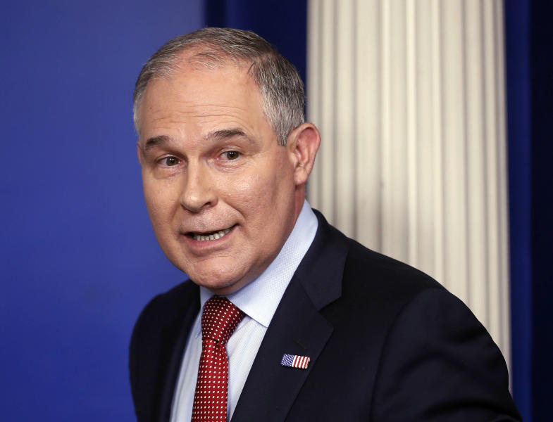 <p> FILE - In this June 2, 2017 file photo, EPA Administrator Scott Pruitt looks back after speaking to the media during the daily briefing in the Brady Press Briefing Room of the White House in Washington. Pruitt is looking to make peace on biofuels standards with a group of senators from corn-growing states who could upend President Donald Trump's nominees for key regulatory posts. Pruitt pledged in a letter to Sen. Joni Ernst of Iowa and a half dozen other Republican lawmakers to take specific actions benefiting the biofuels industry. (AP Photo/Pablo Martinez Monsivais, File) </p>
