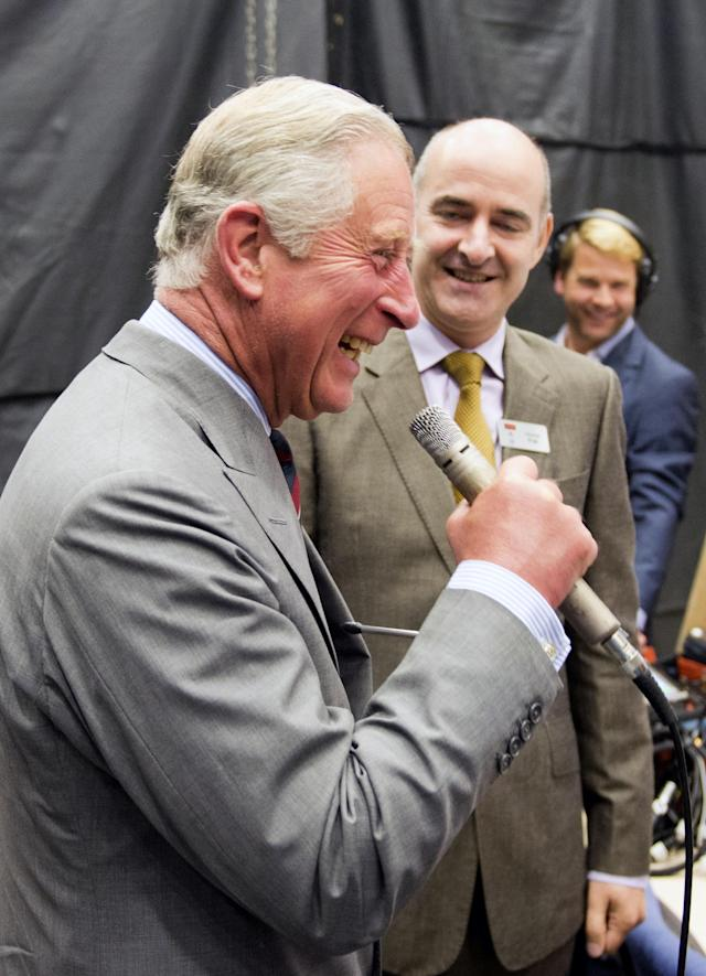 CARDIFF, WALES - JULY 03: Prince Charles, Prince of Wales is pictured saying 'exterminate' during their visit to the set of the BBC One drama series 'Doctor Who' during their visit BBC Roath Lock Studios on July 3, 2013 in Cardiff, Wales. (Photo by Arthur Edwards - WPA Pool/Getty Images)
