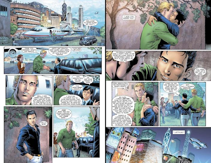"""This combo made from images provided by DC Entertainment shows pages from the second issue of the company's """"Earth 2"""" comic book series featuring Alan Scott, the alter ego of its Green Lantern character, who is revealed to be gay. The reveal is the latest example of how comics publishers big and small are making their characters just as diverse as the people who read their books. The issue will be available on June 6, 2012 (AP Photo/DC Entertainment)"""