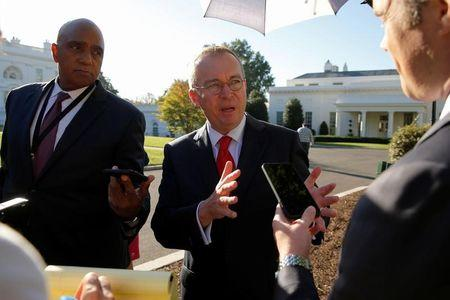 White House Office of Management and Budget (OMB) Director Mick Mulvaney speaks to reporters outside the White House in Washington, U.S. October 4, 2017.  REUTERS/Jonathan Ernst