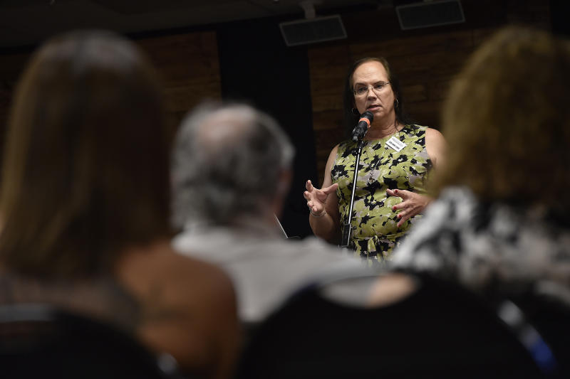 Ceri Anne Lewis speaks at the United Methodist Church of the Resurrection in Leawood, Kansas, Sept. 21, 2017. She did high-level Navy intelligence work during the Reagan years and is now a photographer who does technical photography equipment repair.She leads support groups in the community for LGBTQpeople who feel abandonedby God, or by their faith,because of who they are.