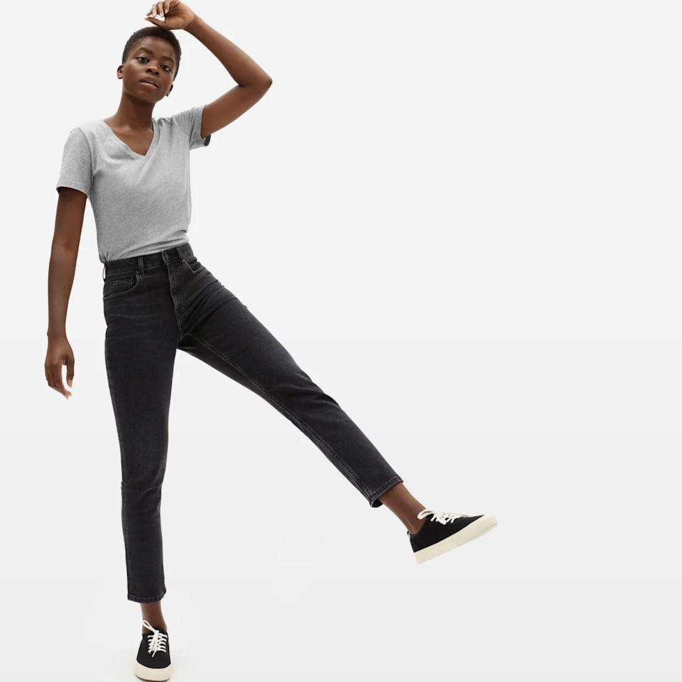 "Everlane makes some of <a href=""https://www.glamour.com/story/everlane-perform-leggings-review?mbid=synd_yahoo_rss"" rel=""nofollow noopener"" target=""_blank"" data-ylk=""slk:our favorite basics"" class=""link rapid-noclick-resp"">our favorite basics</a> in the game. Case in point: This slim-fit V-neck made with certified organic cotton. $18, Everlane. <a href=""https://www.everlane.com/products/womens-organic-cotton-v-neck-white"" rel=""nofollow noopener"" target=""_blank"" data-ylk=""slk:Get it now!"" class=""link rapid-noclick-resp"">Get it now!</a>"