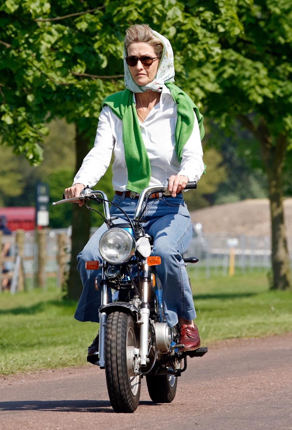 WINDSOR, UNITED KINGDOM - MAY 11: (EMBARGOED FOR PUBLICATION IN UK NEWSPAPERS UNTIL 24 HOURS AFTER CREATE DATE AND TIME) Penelope Knatchbull, Lady Brabourne seen riding a mini 'Easy-Rider' motorbike as she attends day 1 of the Royal Windsor Horse Show in Home Park on May 11, 2006 in Windsor, England. (Photo by Max Mumby/Indigo/Getty Images)